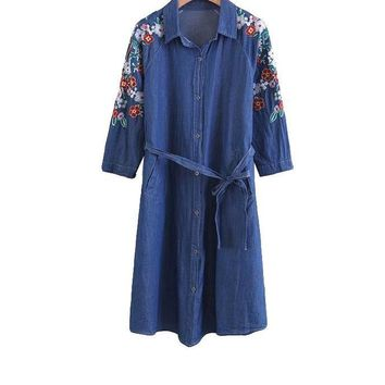 New Casual Denim Dress Floral Embroidery Women Dress Loose Turn-down Collar Lace-Up Three Quarter Dress
