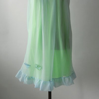 Vintage 1960s Blue & Green Nightgown, Medium