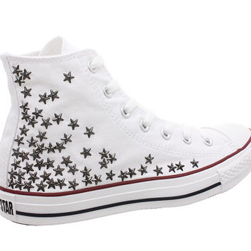 Studded Converse, Converse White HIgh Top with Gunmetal Star Studs by CUSTOMDUO on ETSY