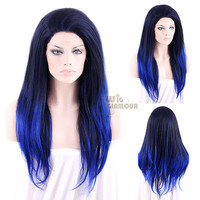 "Long Straight 24"" Black Mixed Dark Blue Lace Front Wig Heat Resistant"