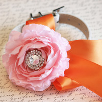 Pink and Orange Floral Dog Collar, Pink Dog Wedding Accessory, Pet Wedding Accessory, 2014 Wedding Accessory, Flower and Rhinestone