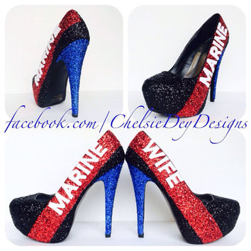 Dress Blues USMC Glitter High Heels