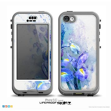 The Abstract Blue Floral Art Skin for the iPhone 5c nüüd LifeProof Case