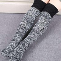 Cupshe Free Ribbed Thigh-High Socks