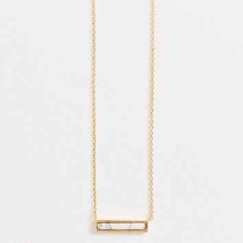 Alina Marble Bar Dainty Gold Necklace