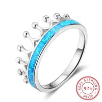 925 Sterling Silver Blue Opal Stone Finger Ring