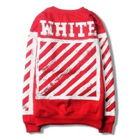 Off White Women Men Fashion Casual Top Sweater Pullover-2