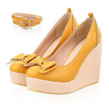 Thin Shoes Slipsole Bowknot Buckle  apricot