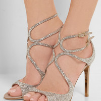 Jimmy Choo - Memento Lang crystal-embellished metallic suede sandals