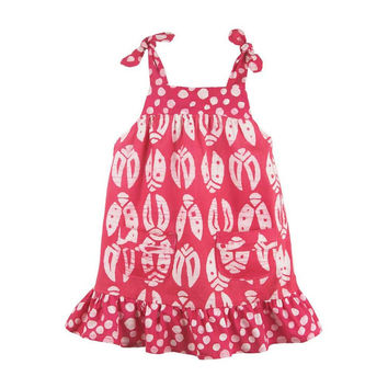Fair Trade Girls Ladybug Pocket Dress - Pink