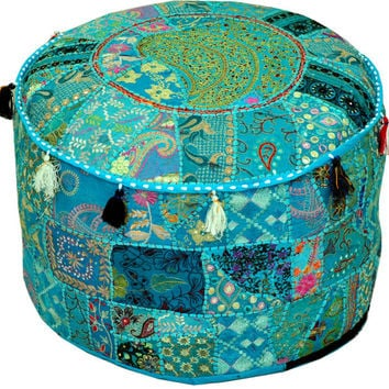 Round Ottoman Pouf Decorative Cushion Ethnic Indian Decor Art Bohemian  Stool Chair Pouffe Pouffes Indian Floor