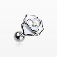 Classic White Rose Sparkle Cartilage Tragus Earring