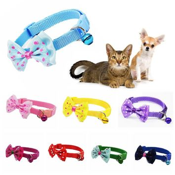 Cute Pet Collar With Bell Neck Chain Nylon Fabric Pet Collar Dog Strap Buckle Polka Dot Bow Pet Accessories