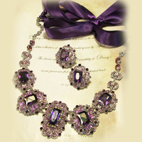 Custom order for Anjanay--Wedding jewelry set, OOAK  bib necklace and earrings