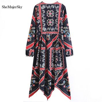 SheMujerSky Bohemian Women Dress Autumn Winter 2017 Vestidos Long Sleeve Boho Female Dresses Robe