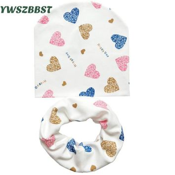Baby Hat Infant Caps Cotton Scarf Baby Beanies Love Heart Print Spring Children Hat Scarf Set Baby Girls Hats Photo Props