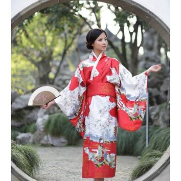 Red Oriental Japanese Yukata Kimono Cosplay Robe Geisha Dress Sleepwear