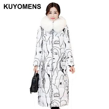 KUYOMENS Fashion Ladies Coats 2017 Winter Coat Women Parka Long Thick Warm Cotton Jacket Women Jackets And Coats Black