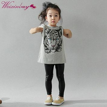 Children's Girls T-Shirts Kids Korean Tiger Printed Casual T-shirt Cotton Clothes Suitable For Dressing