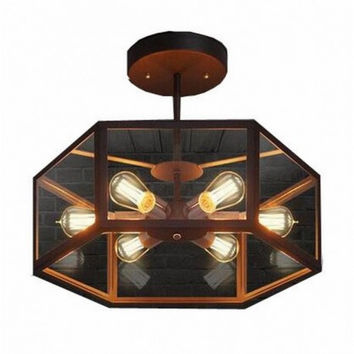 Vintage rural creative dinning room bar counter coffee bar hexagons glass rustic edison ceiling lamp light
