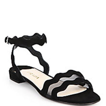 Prada - Mesh & Suede Scalloped Sandals - Saks Fifth Avenue Mobile
