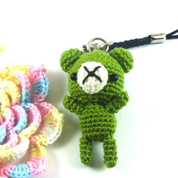 Mini Olive-Green Bear Amigurumi Crochet Doll Cell Phone Charm // Petit, Little, Miniature Craft