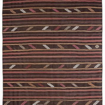 Handmade  Unique Striped Overdyed Kilim Rug 5'11'' x 11'0'' ft 180 x 336 cm (Free Shipping)