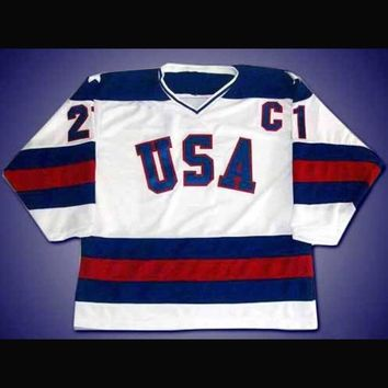 Mike Eruzione #21 'C' 1980 Miracle On Ice Team USA Olympic Hockey Jersey
