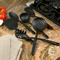 Evelots Set of 6 Kitchen Utensils Black Plastic Slotted Strainer Spoon Spatula