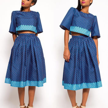 Polka Dot Two-Piece A-Line Blue Dress