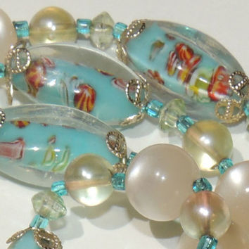 Blue Moonglow & Art Glass Beaded Necklace, Blue, Red, Yellow, White, Orange vintage jewelry