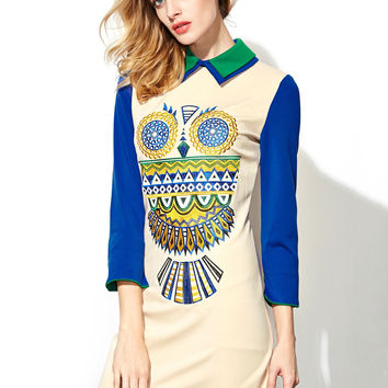 Color Block Owl Embroidered 3/4 Sleeves Lapel Dress