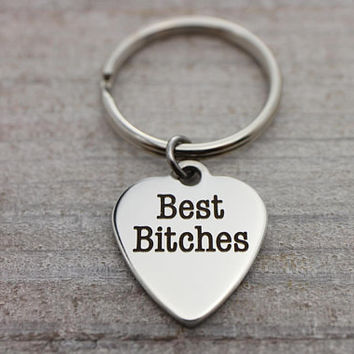 Best Bitches heart silver key ring