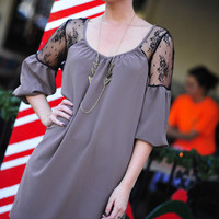 She's Ready For Date Night Dress: Taupe/Black   Hope's