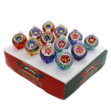 Shiny Brite CC DECORATED ROUNDS Glass Ornaments 4027600