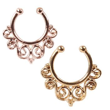 Fake Nose Ring Sprial Septum Clip Septum Clicker Piercing Fake Nose Ring Hoop Indian Body Summer Jewelry 24pcs/sets
