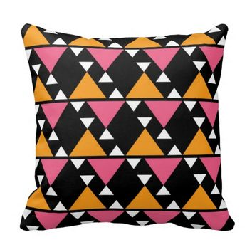 Abstract Tribal Geometric Pattern On Black Pillows