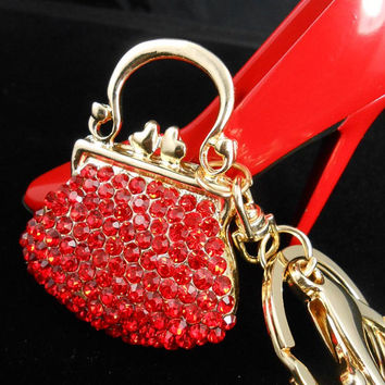 Red Handbag Rhinestone Keychain Purse Charm, Bling Keychain, Women's Red Crystal Handbag Charm,Bling Car Decor, Fashion Handbag Accessory