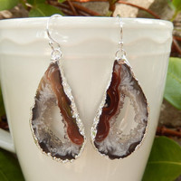 Geode Slice Earrings Silver Agate Crystal Quartz Druzy Jewelry Freeform Boho Festival Black White - Free Shipping