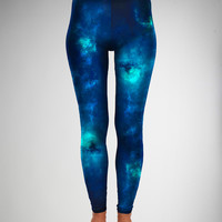 Blue Space Print Leggings