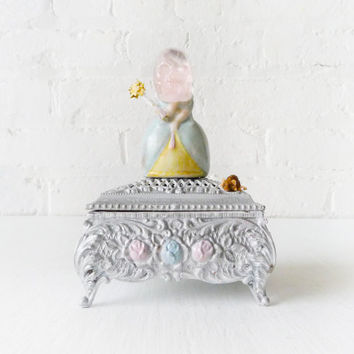 Cinderella Deadly Fairy Godmother - German Porcelain Figurine - Quartz Crystal Skull - Antique Silver Jewelry Box - Dismembered Enchantment