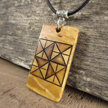 Traditional Quilt Pattern Necklace, Handmade Pinwheel Quilt Block Pendant With Leather Necklace, Rustic Jewelry