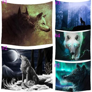 Comwarm Fantasy Lonely Wolf Animal Pattern Tapestry Polyester Wall Art Hanging Gobelin Modern Bedroom Livingroom Home Decor T050