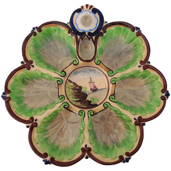 Majolica Boat Oyster Wall Plate