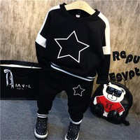 winter boys clothing set boutique kids clothes thanksgiving outfit o-neck long sleeve star printed hoodies and pants children