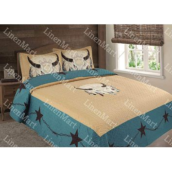 Rustic Turquoise Cow Skull LongHorn & Feathers Western Star Quilt Bedspread - 3 Piece Set