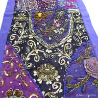 Purple Antique Bridal Dress, Beads and Hand Embroidered Indian Tapestry Runner Wall Hanging