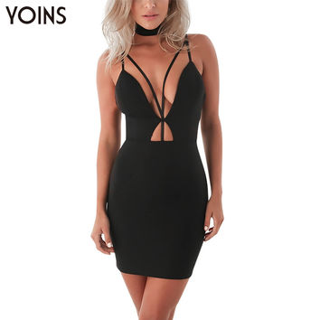 YOINS Sexy Sleeveless Backless V-neck Black Cut Out Mini Dress Women Fashion Zip Back Bodycon Mini Party Club Dresses Vestidos
