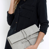 Tying to See Ya Light Grey Clutch