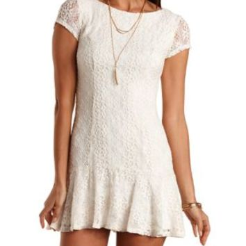 Fluted Crocheted Lace Dress by Charlotte Russe